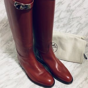 Hermès Burgundy Kelly Swift H Boots EU36